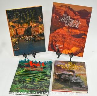 Selection of large format photo books: Asia; National Parks; Italy; Railroading