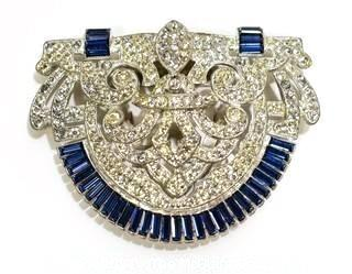 """Vintage Edwardian Clear & Blue Rhinestone Brooch or Clip.  Measures approximately 3"""" x 2""""."""