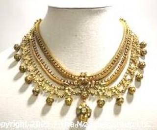 Vintage Gold Tone & Rhinestone Bib Necklace.
