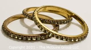 Three (3) Vintage Chanel Set Rhinestone Bangle Bracelets.