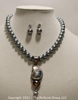 Faux Grey Pearl Necklace & Matching Earrings with Ammonite Fossil Pendant.