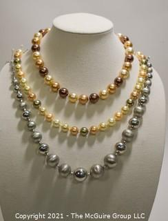 Group of Three (3) Faux Pearl Costume Jewelry Beaded Necklaces.