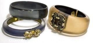 Two (2) Alexis Bittar Tapered Lucite Hinge Bracelets with Swarovski Crystals and One (1) Lucite Bangle Bracelet Unsigned.