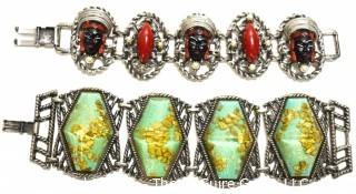 Two (2) Vintage Chunky Link Bracelets With Applied Lucite Decorations.