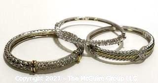 Three (3) Silver Tone Bangle Bracelets with Rhinestone Accents.