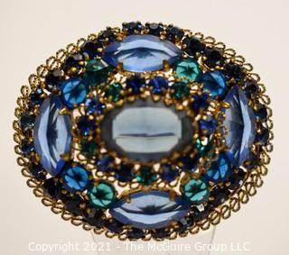 Vintage Blue Crystal Encrusted Bezel Set Brooch or Pin.