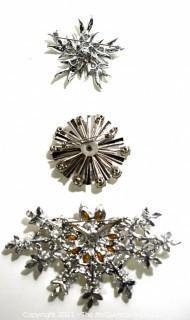 Three (3) Vintage Rhinestone Encrusted Brooches or Pins.