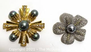 Two Rhinestone and Faux Pearl Broochs, Signed Ann Hand and Sung.