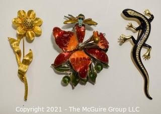 Three (3) Vintage Brooches or Pins Including Enamel Flower, Enamel & Crystal Salamander and BSK & Rhinestone Flower