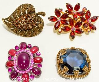 Set of Four (4) Vintage Rhinestone Brooches or Pins in Bright Clear Colors.