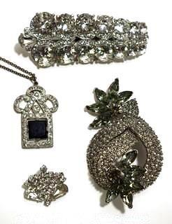 Group of Four (4) Vintage and Modern Rhinestone Encrusted Brooches & Pendants.  One marked Cabi.