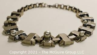 Vintage St John Abstract Geometric Silver with Faux Pearl Necklace.