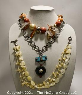 Three (3) Bead Necklaces, Two (2) Made From Mother of Pearl Shell.