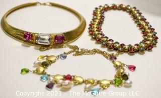 Three (3) Vintage Pink & Clear Rhinestone & Crystal Necklaces.