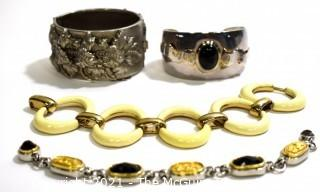 Four (4) Costume Jewelery Bracelets Including Bangle, Cuff & Link.