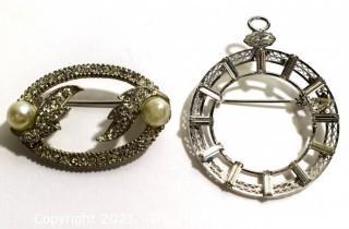 Two (2) Vintage Rhinestone Brooch & Pendants, One Signed Sharon Creations.