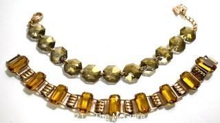 Two (2) Vintage Bracelets.  Includes Smokey Cut Quartz Bead Link Bracelet Made by Isreali Jewelry Artist Hadar, with Butterfly Charm.