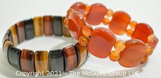 Two (2) Gem Stone Stretch Bracelets - Tigers Eye & Agate