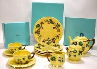 Vintage Tiffany & Co. Majolica Blackberries Tea Set With Fpur (4) Dessert Plates.  New in Tiffany Blue Gift Boxes with Ribbon.