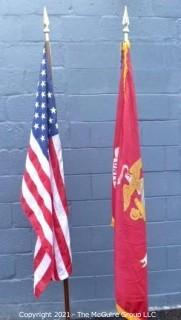 Collectible: Militaria: US Flag (50 stars) and Marine Corp Flag on poles with bases