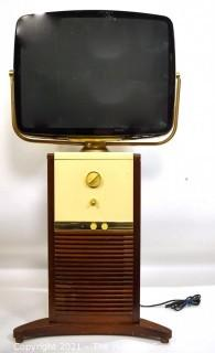 """Vintage Mid Century Modern MCM """"Predicta"""" Television in Swivel Screen Pedestal Cabinet.  This TV has been converted to a modern monitor with Cable Plug.  Not operating."""