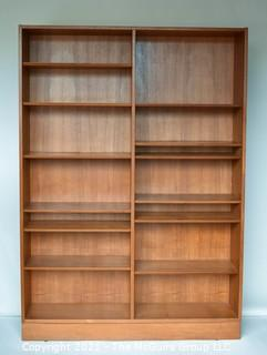 """Set of Mid Century Modern MCM Modular Wall Book Shelves with Adjustable Shelves, Some Slide Out.   Stamped Made in Denmark by Poul Hundevad.  77"""" tall, 12"""" deep and 94"""" wide"""