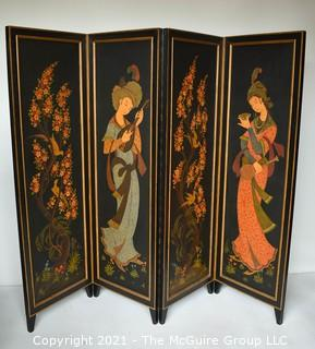 """Asian Chinoiserie Four Panel Black Lacquer Screen or Room Divider. Each panel measures approximately 20""""W."""