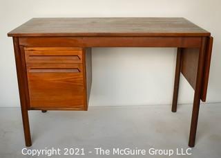 "Danish Mid Century Modern (MCM) Two (2) Drawer Desk with Folding Leaf.  Missing Leaf Bracket.  Measures 44"" x 24"" x 30""."