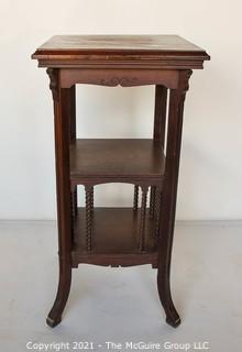 """Vintage Wood Plant Stand with Barley Twist Accents.  Measures 32""""H x 16""""Square."""