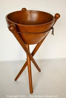 "Mid Century Modern MCM Teak Wood Salad Bowl on Tripod Standing Base.  Measures 29""T x 15""Diameter."