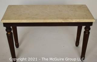 """Wood Bench or Table With Marble Detachable Top. Measures 24"""" L x 12"""" W x 15"""" T"""