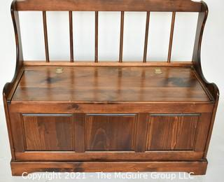 Wooden Storage Bench with Hinged Lid and Spindle Back.