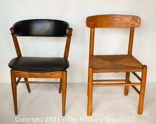 Two (2) Mid Century Modern MCM Dining or Desk Chairs.  One with black vinyl upholstery (burn hole), One with rush seating.