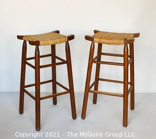 """Two (2) Vintage Danish Modern Maple Bar Stools with Woven Cane Seats.  Measure 29""""T."""