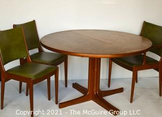 """Danish Mid Century Modern MCM Teak Dining Table with Three (3) Chairs and Two (2) Leaves Made By J.O. Carlsson For Vetlanda .  Measures  29""""T x 47"""" D.  Each leaf measures 24""""W."""