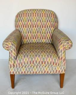 """Upholstered Armchair in Pastel Ikat Pattern Fabric.  Measures 29""""D x  33""""W x  37""""T"""
