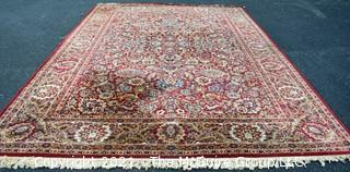 """Machine Woven Oriental Rug with Red Ground, Made in Belgium.  Measures 104""""L X 96""""W."""