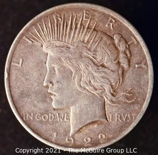 "Numismatic: ""Peace"" Silver Dollar 1922"