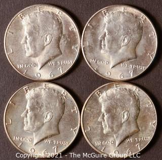 Numismatic: (4) Silver Clad Kennedy Half Dollars (1967)