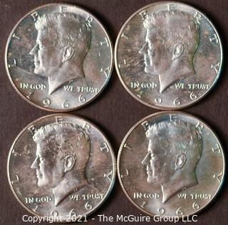 Numismatic: (4) Silver Clad Kennedy Half Dollars (1966)