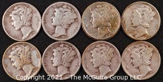 Numismatic: (8) Silver Mercury Dimes  (1939>1944)