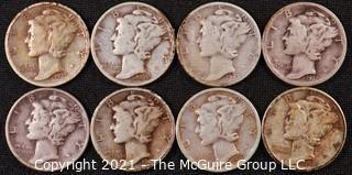 Numismatic: (8) Silver Mercury Dimes  (1937>1944)