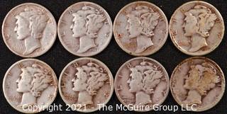 Numismatic: (8) Silver Mercury Dimes  (1927>1944)