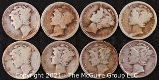 Numismatic: (8) Silver Mercury Dimes (1919>1944)