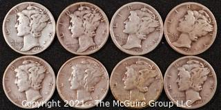 Numismatic: (8) Silver Mercury Dimes (1935>1944)