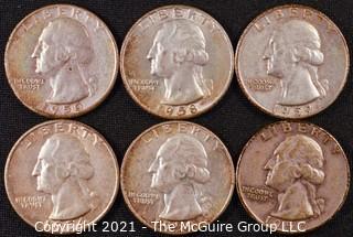 Numismatic: (6) Silver Washington Quarters (1954>1959)