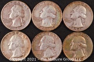Numismatic: (6) Silver Washington Quarters (1951>1956)