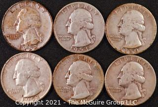 Numismatic: (6) Silver Washington Quarters (1950>1953)