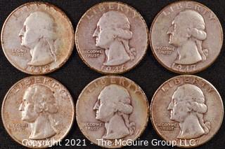 Numismatic: (6) Silver Washington Quarters (1946>1957)