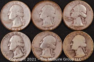 Numismatic: (6) Silver Washington Quarters (1934>1949)
